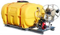 Bewässerungssystem: Fass mit Schwallwände + Pumpe - Schlauchhaspel und 7m Schlauch