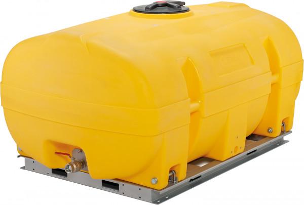 PE-Fass kofferförmig mit 3000 Liter – Auslaufhahn und Grundrahmen als Zubehör