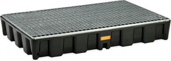 Flächenschutzsystem mit PE-Auffangwanne 120HD mit Stahlgitterrost verzinkt