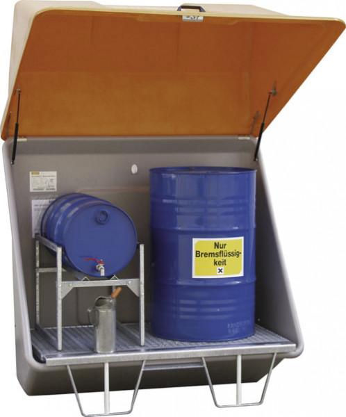 Beispiel Schadstoff-Sammelstation mit Gitterrostboden für Aufstellung im Freien