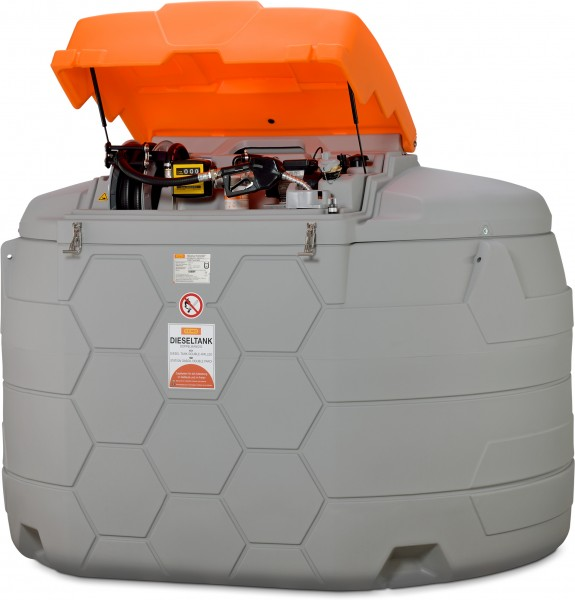 Diesel CUBE-Tank 5000 Liter Outdoor Premium mit Zähler und Schlauchaufroller