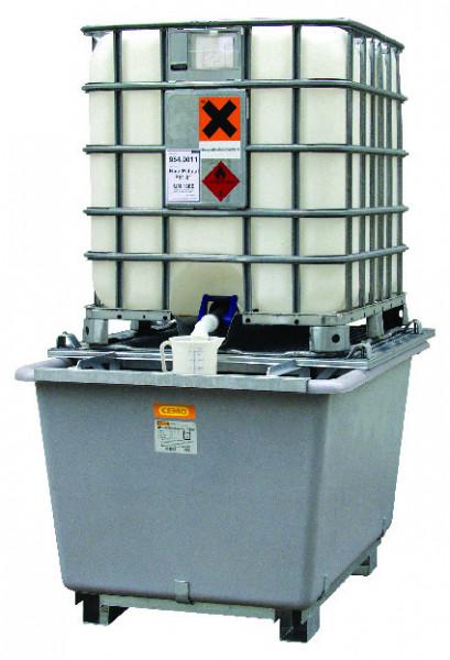 Beispiel IBC-Auffangwanne aus GFK mit Stahlgitterrost