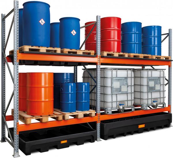 Gefahrstoff-Palettenregal 18-405 mit Anbauregal 27-1100 für die Fasslagerung