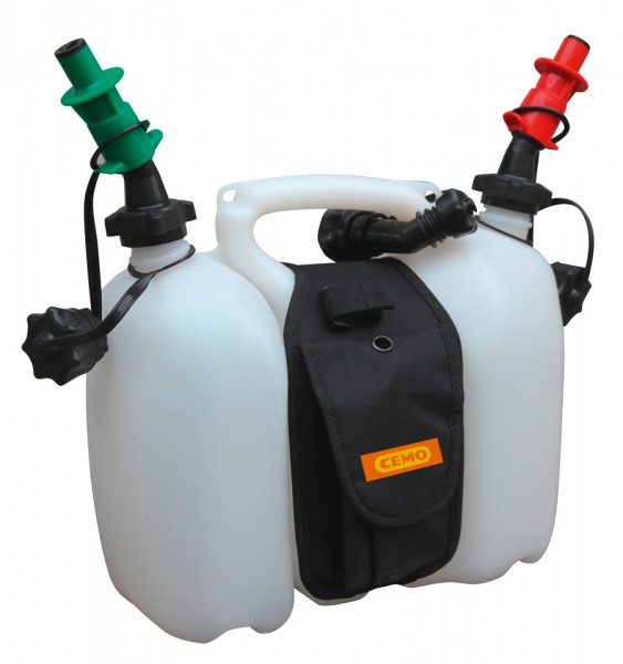 Doppelkanister »Profi« für Benzin und Öl mit Satteltasche und Sicherheitseinfüllsystem 6 und 3 Liter