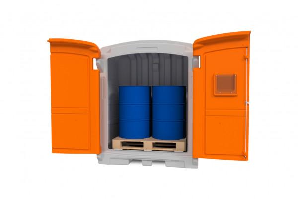 PE-Gefahrstoffdepot 220/2 mit Lagerblock für zwei 200-Liter-Fässer