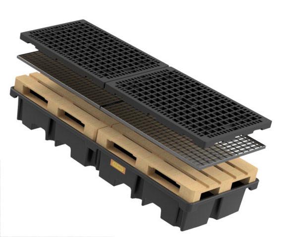 PE-Palettenauffangwanne 425/4e - optional mit Stahlgitterrost oder PE-Rost