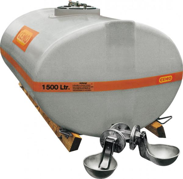 Beispiel Weidefass 1500 Liter mit Anbautränken - grau eingefärbt gegen Algenbildung