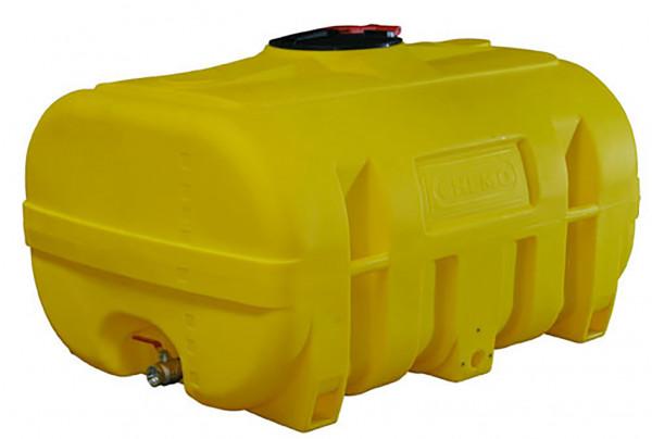 PE-Fass kofferförmig 2000 Liter – Beispiel mit Auslaufhahn als Zubehör