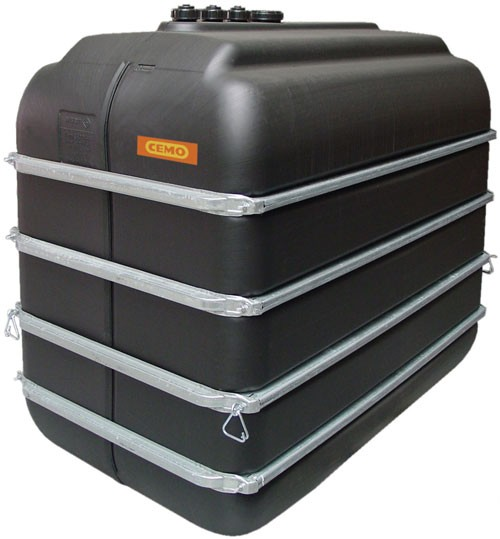 Cemo Lagertank 5000 Liter mit drei Anschlüssen und Bandagen als Regenwassertank