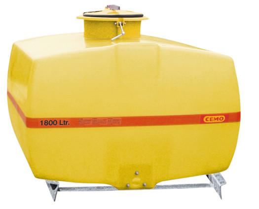 Beispiel GFK-Fass kofferförmig 1800 Liter mit Stahl-Auflagekufen für Kommunalfahrzeuge geeignet