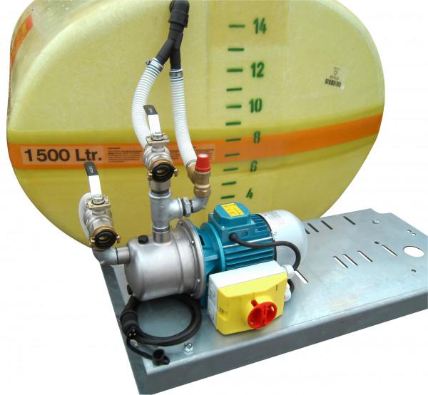 Beispiel Elektropumpe 24 Volt bis 60 l/min montiert an GFK-Fass