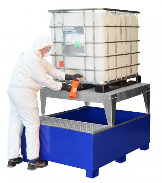 Beispiel IBC-Auffangwanne GS1a aus Stahl, lackiert mit Abfüllfläche und Abfüllbock