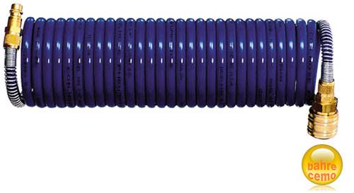 Druckluft-Spiralschlauch 5 m, mit Anschlüssen
