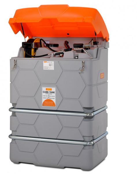 Beispiel Schmierstofftank CUBE Premium-Indoor – Lieferung ohne Klappdeckel mit Schlauchaufroller