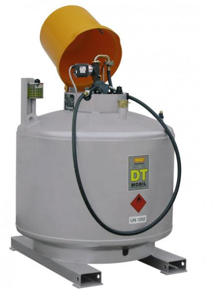 Mobilpaket Dieseltankstelle 980 Liter doppelwandig mit abschliessbarer Pumpenhaube, E-Pumpe 12V/50l/min, Automatik-Zapfpistole, für Innen und Außen