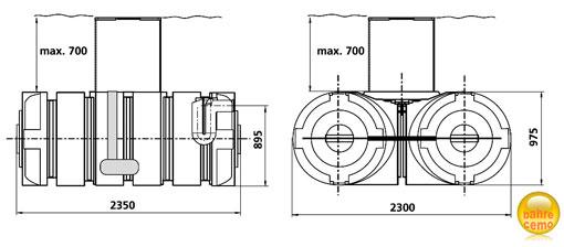 Flachspeicher für Wasser 3500 Liter